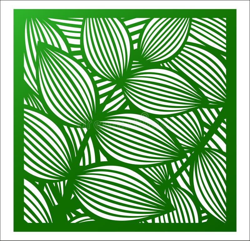 Panel för laser-klippfyrkant Openwork blom- modell med tropica vektor illustrationer