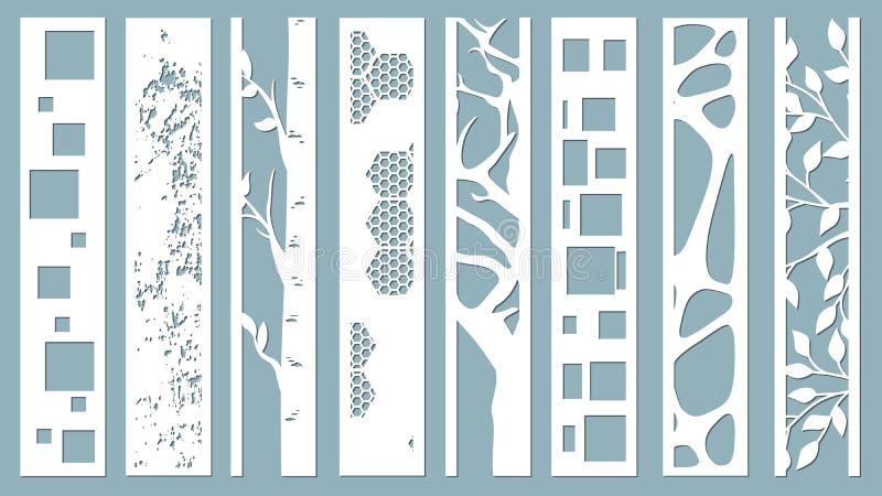 Panel för registrering av de dekorativa yttersidorna Abstrakta remsor, linjer, paneler Vektorillustration av ett laser-klipp plot vektor illustrationer