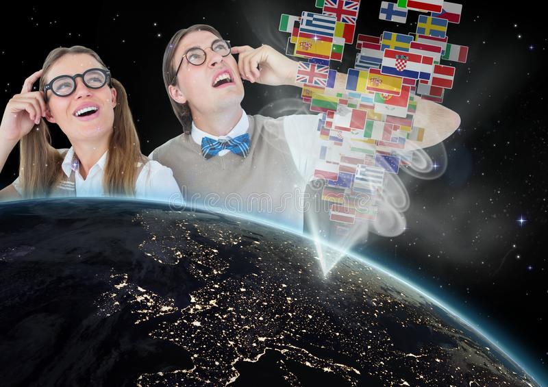 panel with flags going out of earth, nerd couple vector illustration