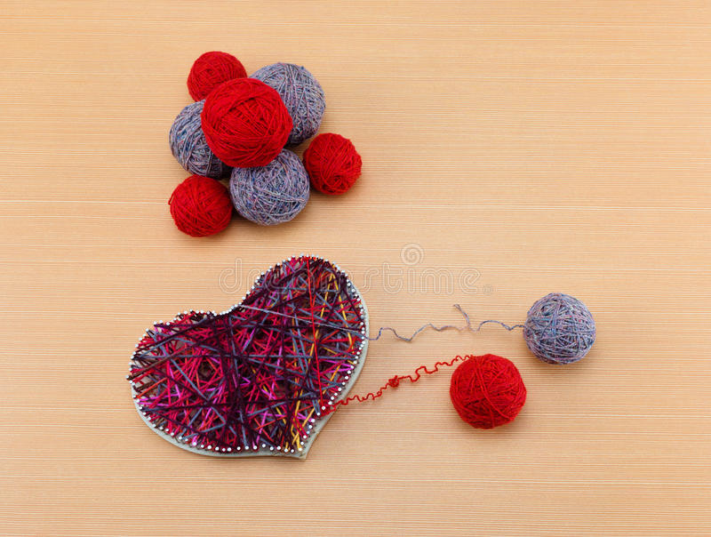 Panel Heart in style String Art stock photo
