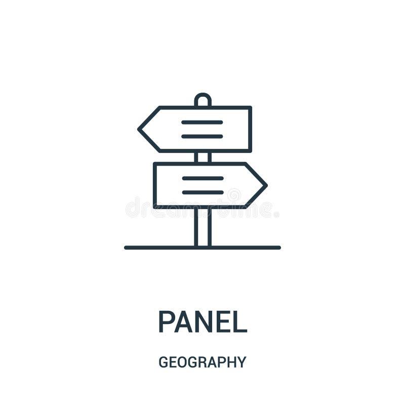panel ikony wektor od geografii kolekcji Cienka kreskowa panelu konturu ikony wektoru ilustracja ilustracja wektor