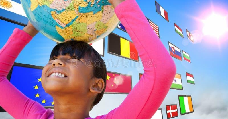 panel med flaggor i himlen Flicka som har gyckel med jordbollen arkivfoto