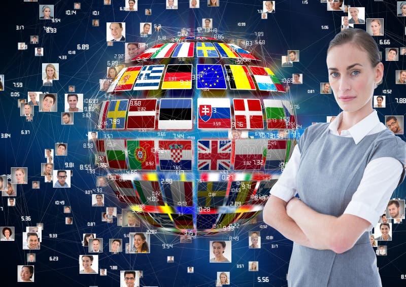 panel med flaggor på en boll- och fotoanslutningsbakgrund allvarlig kvinna för affär stock illustrationer