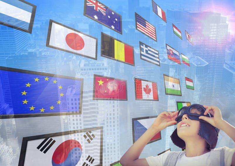 panel med flaggor, stadsbakgrund aeronautisk pojke som ser upp fotografering för bildbyråer