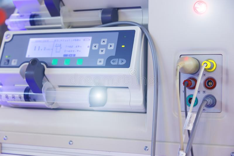 Panel of medical equipment to support breathing close-up. Panel of medical equipment to support breathing royalty free stock photos