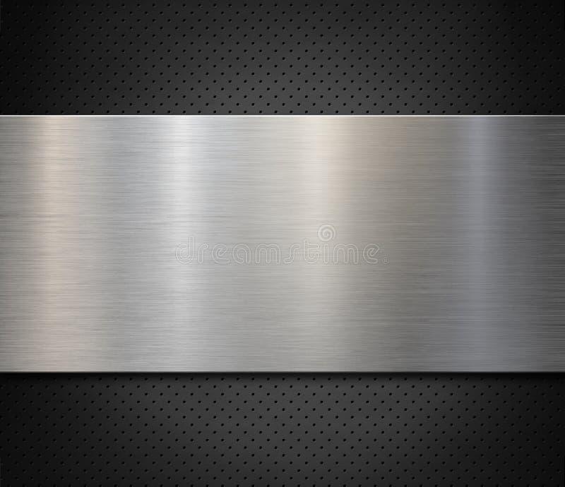 Panel metálico de acero o aluminio sobre fondo perforado Ilustración 3d foto de archivo libre de regalías