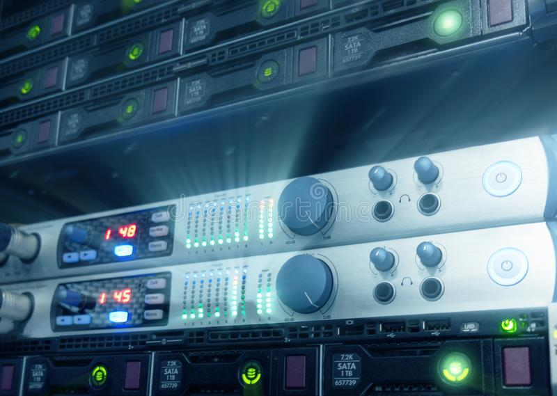 Panel modern servers in the data center. Supercomuter telecommunication technology.  stock photography