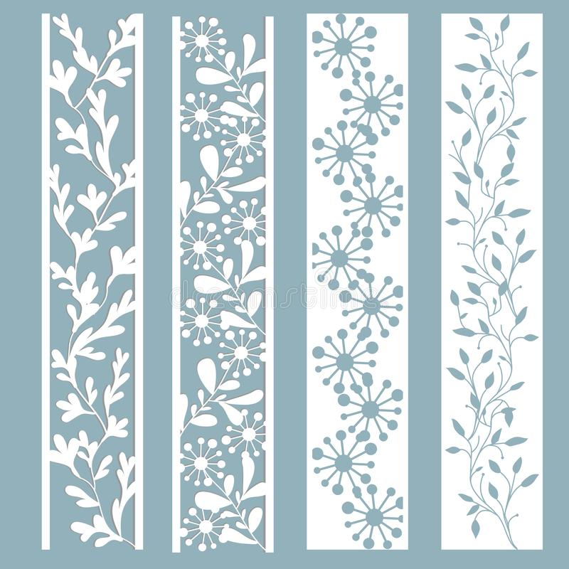 Panel with a pattern of leaves and flowers. Cut out of paper. Set of bookmark templates. Laser cutting, stencil royalty free illustration