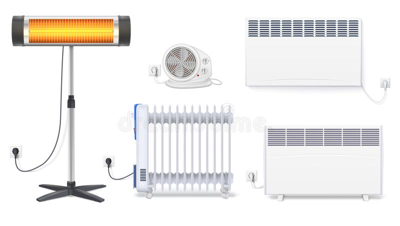 Panel of radiator, electric oil radiator, heater with fan, quartz halogen heater with the glowing lamp. Appliances for. Space heating in the interior of room royalty free illustration