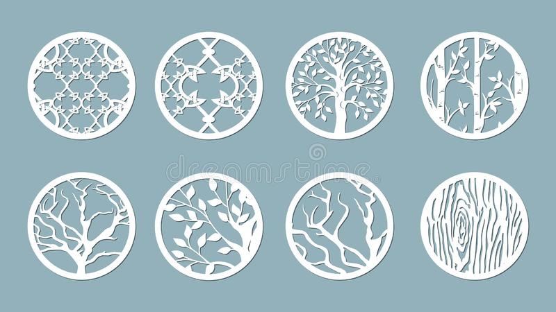 Panel for registration of the decorative surfaces. Abstract circles, balls. Vector illustration of a laser cutting. Plotter cuttin. G and screen printing stock illustration