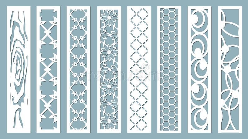 Panel for registration of the decorative surfaces. Abstract strips, lines, panels. Vector illustration of a laser cutting. Plotter. Cutting and screen printing royalty free illustration