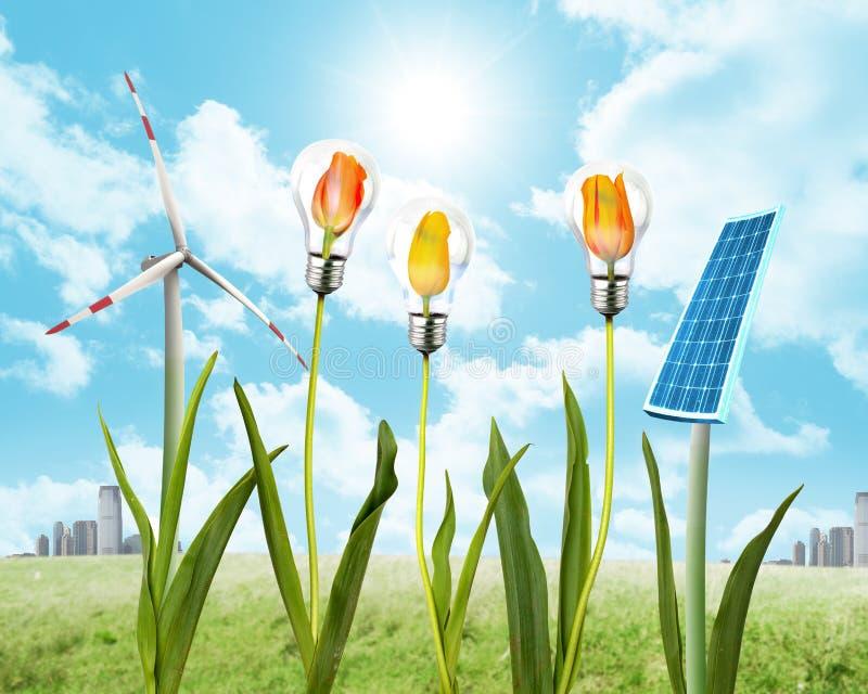 Panel słoneczny i wiatrowa energia obraz royalty free