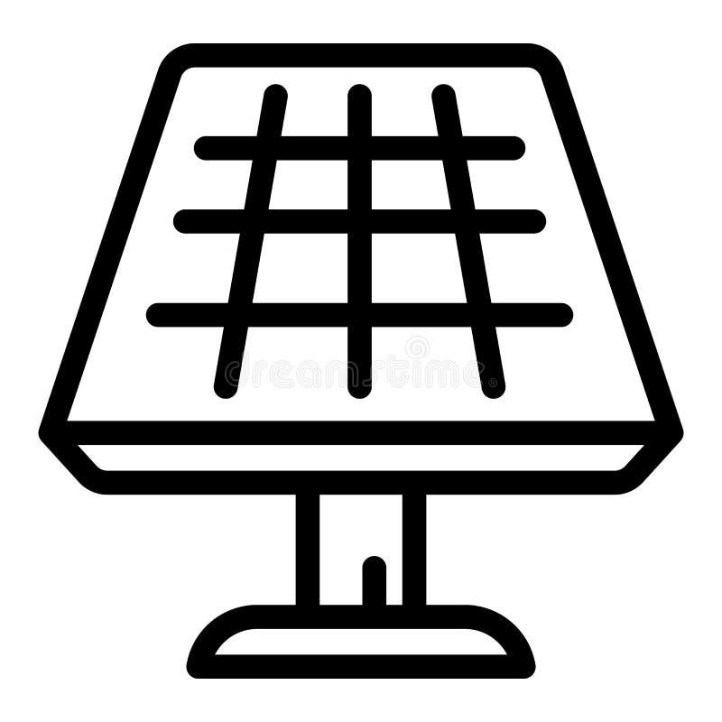 Panel słoneczny ikona, konturu styl ilustracji