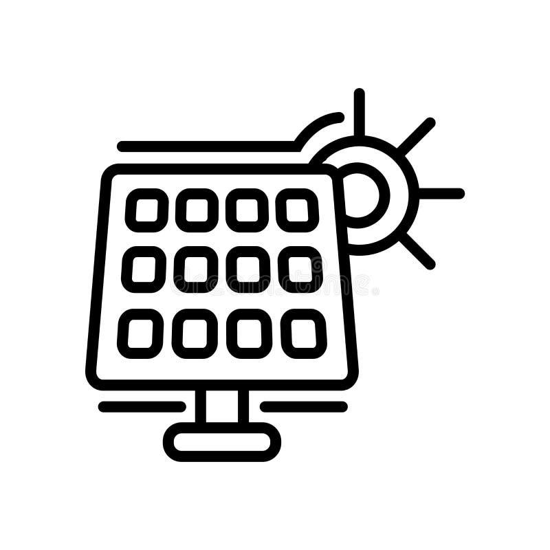 Panel słoneczny ikony wektor odizolowywający na białym tła, panelu słonecznego znaka, kreskowego lub liniowego znaku, elementu pr ilustracji