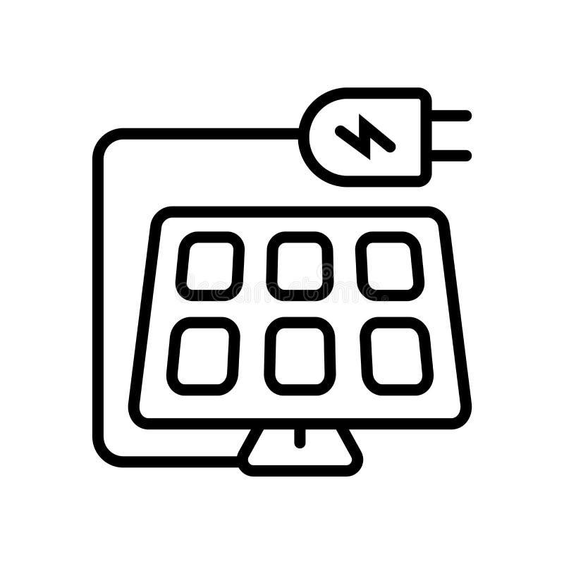 Panel słoneczny ikony wektor odizolowywający na białym tła, panelu słonecznego znaka, kreskowego lub liniowego znaku, elementu pr ilustracja wektor