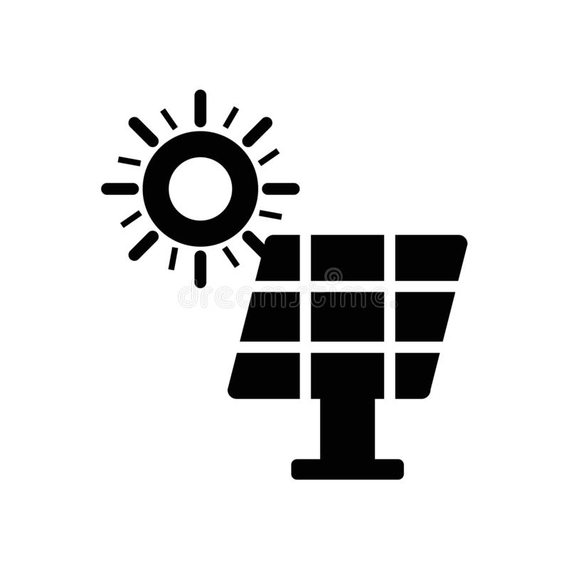 Panel Słoneczny ikony wektor odizolowywający na białym tle, panelu słonecznego znak, ciemny piktogram ilustracji