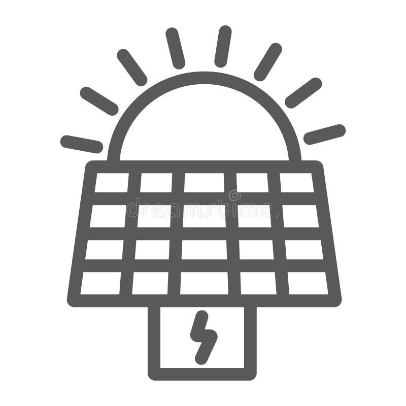 Panel słoneczny kreskowa ikona, ekologia i władza, słońce energii znak, wektorowe grafika, liniowy wzór na białym tle royalty ilustracja