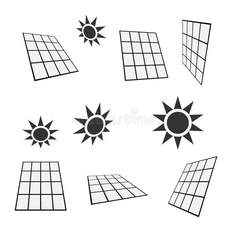Panel słoneczny, słońce ikony, alternatywnej energii symbole, odizolowywający na białym tle, wektorowa ilustracja ilustracja wektor