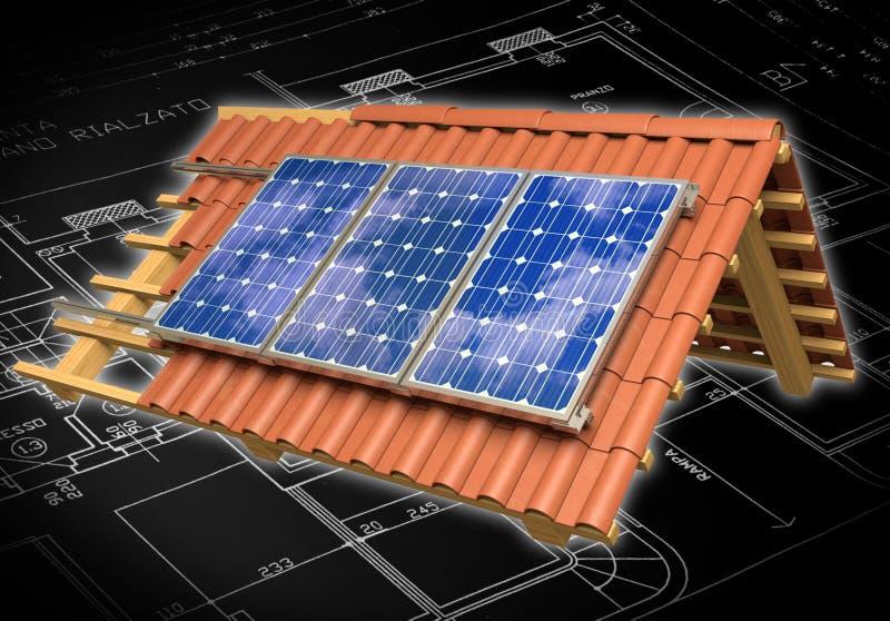 Panel słoneczny zadaszają 3D rendering zdjęcia royalty free
