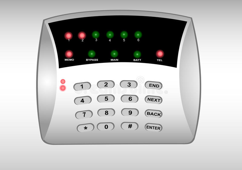 The panel of the security alarm system vector illustration