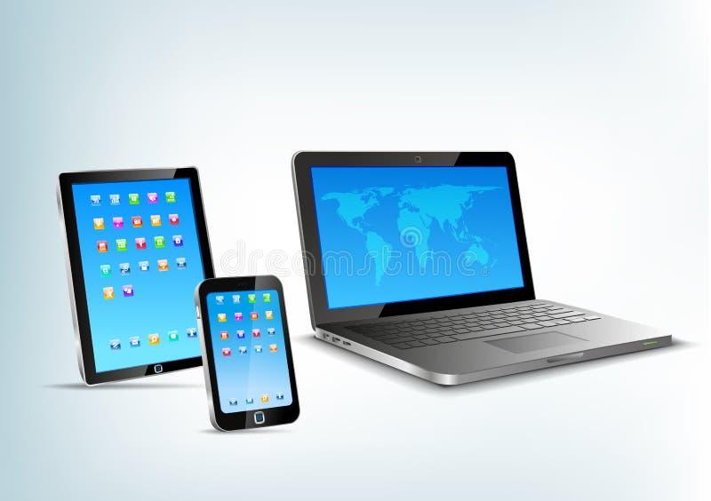 Panel táctil, cuaderno, perspectiv del vector del teléfono móvil stock de ilustración