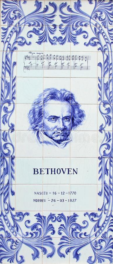 A panel of Azulejos blue tiles depicting Ludwig van Beethoven the German composer and pianist. A panel of tiles depicting Ludwig van Beethoven the German royalty free stock images