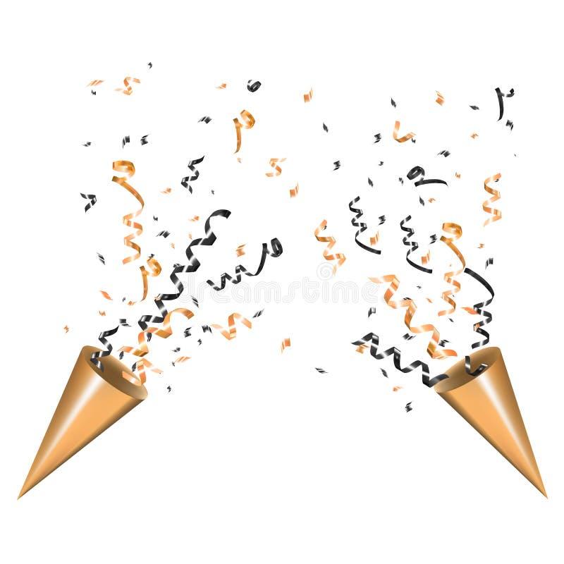 Panela de fazer pipoca de explosão do partido do ouro dois com serpentina Brilhe a fita e os confetes, brilho, estrelas, flâmula  ilustração stock