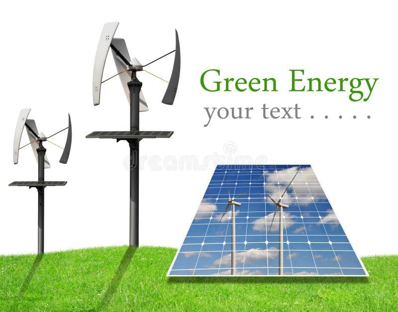 Paneler för sol- energi och vindturbiner royaltyfri illustrationer