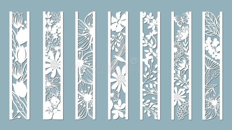 Paneler med den blom- modellen Blommor och lämnar Laser-snitt Uppsättning av bokmärkemallar Bild för laser-klipp, plottarklipp el stock illustrationer