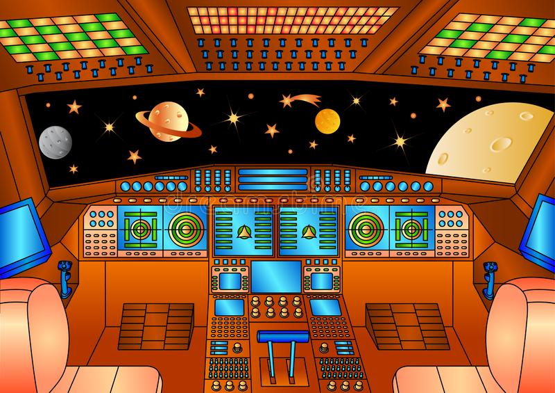 Paneles de control de la nave espacial - versión del color ilustración del vector