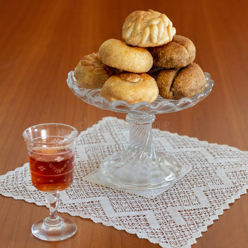 Homemade panellets All-Saints Catalan tradition royalty free stock images