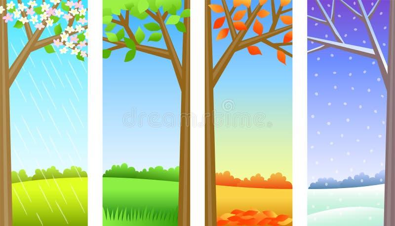 panelsäsonger för eps fyra vektor illustrationer