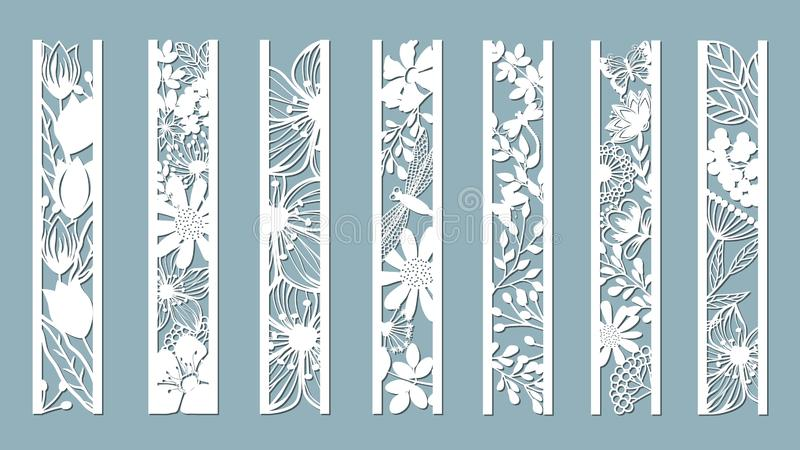 Panels with floral pattern. Flowers and leaves. Laser cut. Set of bookmarks templates. Image for laser cutting, plotter cutting or. Printing. Tulip, Daisy stock illustration