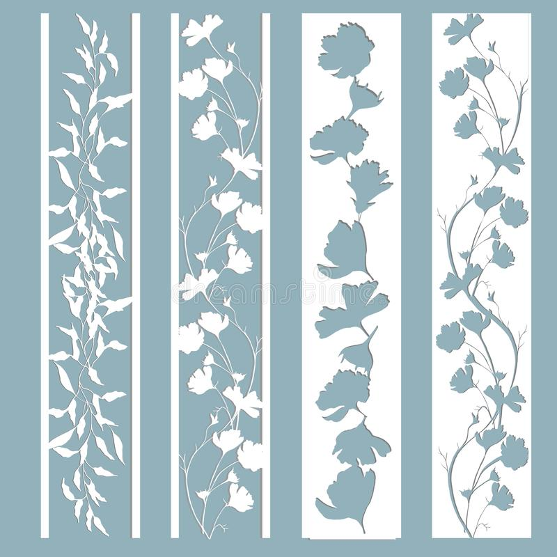 Panels with a pattern of leaves and flowers. Cut out of paper. A set of bookmark templates. Laser cutting, stencil stock illustration