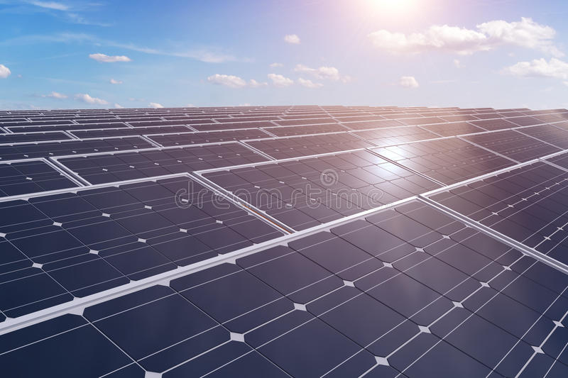 panels photovoltaic sol- framförd illustration 3d royaltyfri illustrationer