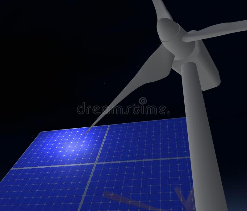 panels sol- turbinwind arkivbild