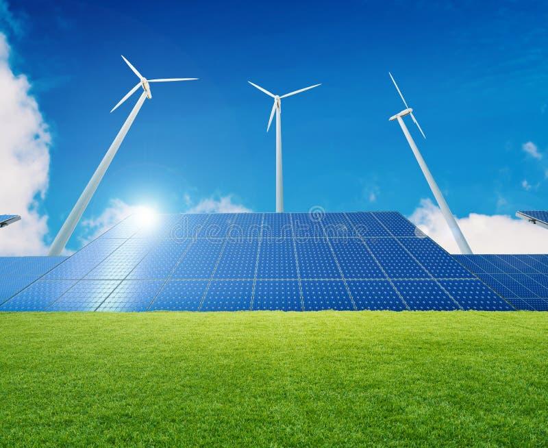 panels sol- turbinwind stock illustrationer