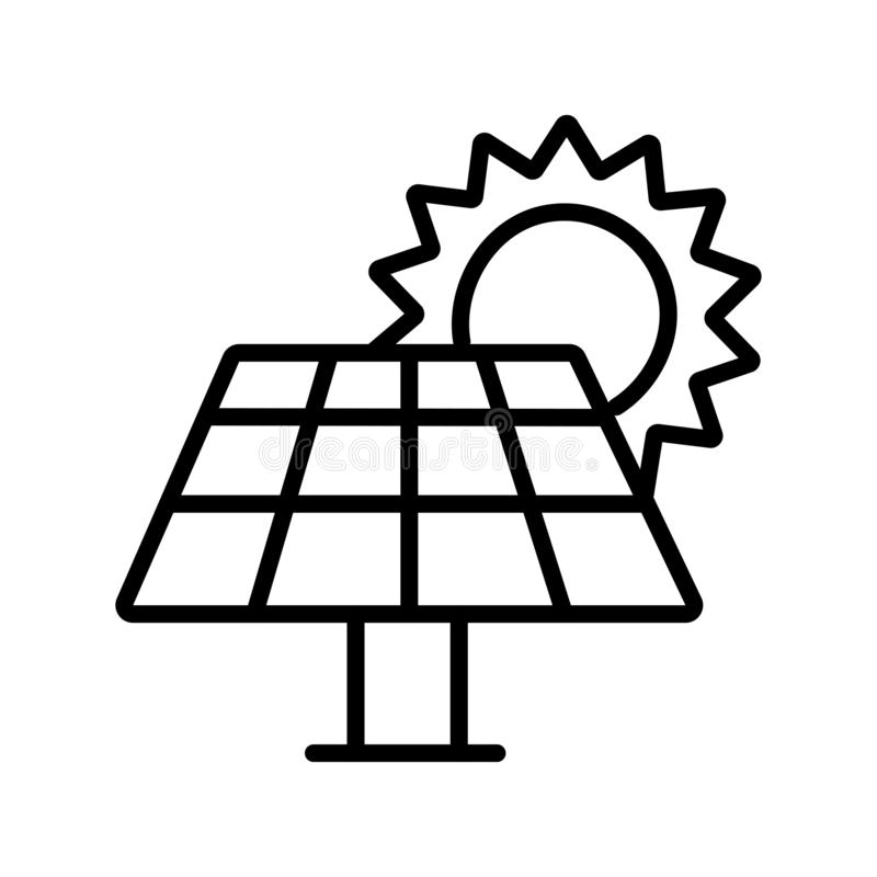 Panelsymbol för sol- energi stock illustrationer
