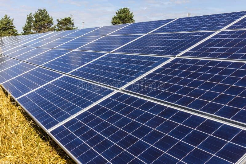 Panelu Słonecznego gospodarstwo rolne Kukurydzani pola one Nawracają w Zielonych Energetycznych tereny Używać Photovoltaic komórk zdjęcia stock