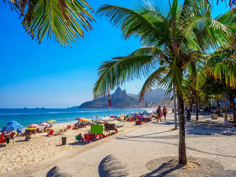 Panema Arpoador w z Rio De Janeiro i plaża obraz stock