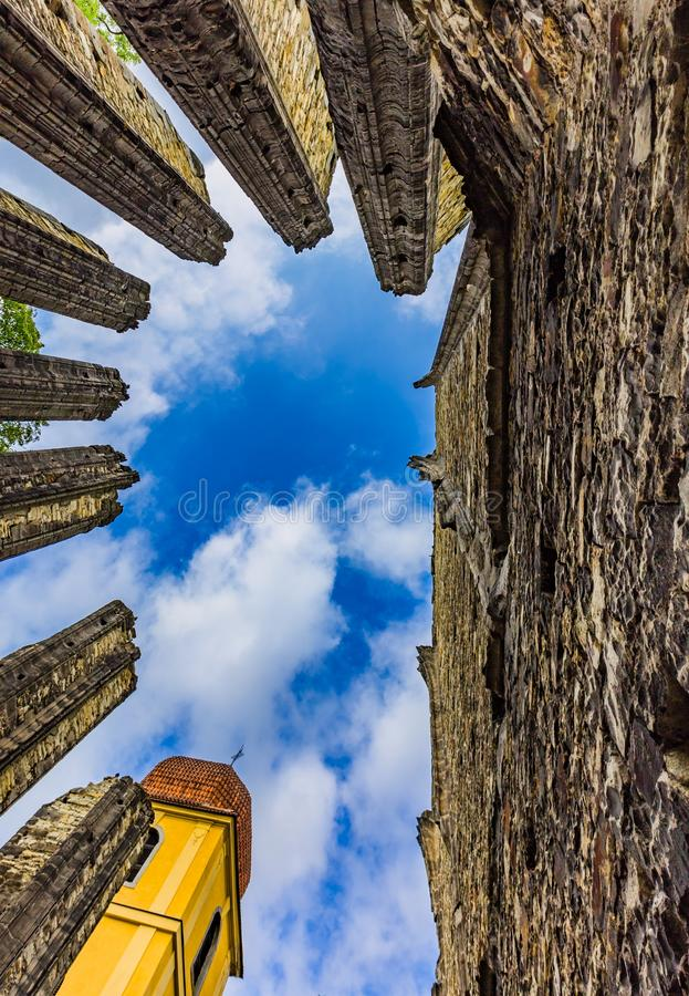 Ruins of the unfinished Gothic church in Panensky Tynec. Panensky Tynec, Czech Republic - July 15 2019: Ruins of the unfinished Gothic church of the Virgin Mary royalty free stock image