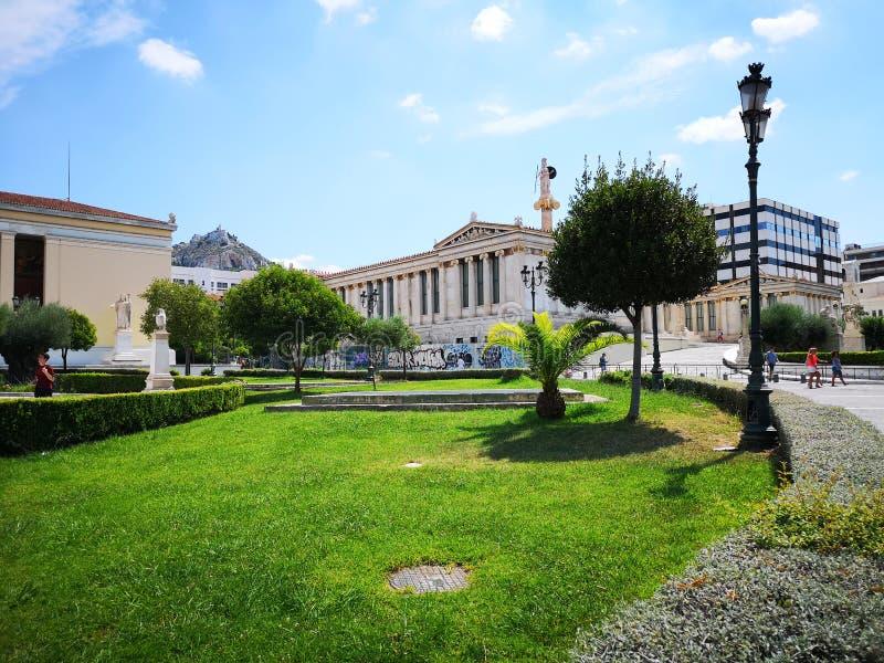 Panepistimio, académie de ressortissant d'Athènes photographie stock libre de droits