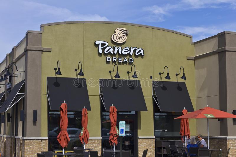Panera面包零售地点 Panera是提供自由WiFi我的快速的偶然餐馆链子  库存照片
