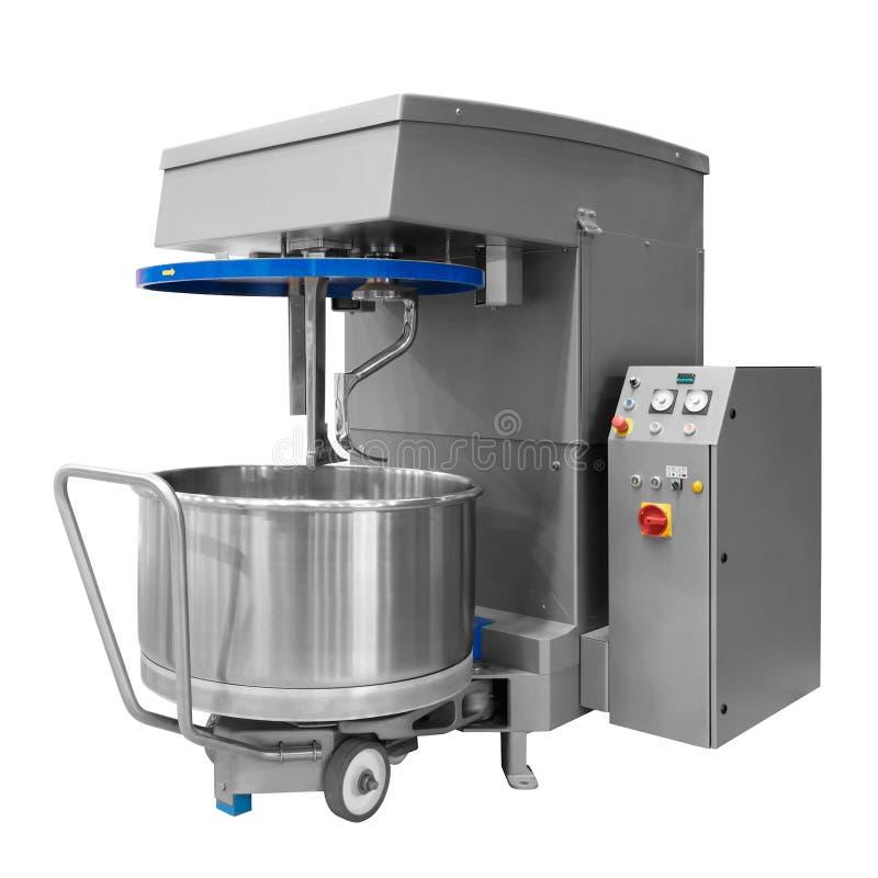 Panera blandaren i bagerit som blandar deg för bagetter i en bagerimaskin för blandande deg royaltyfria foton