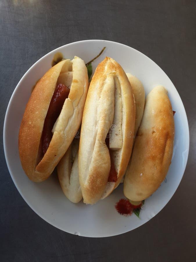 Panes con la carne imagen de archivo libre de regalías