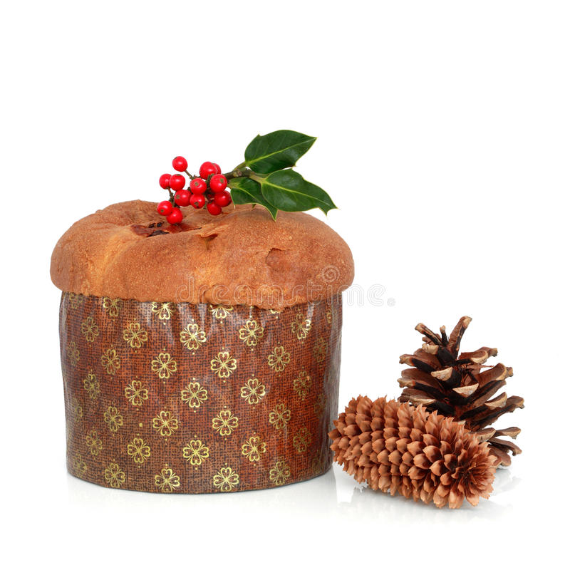 panetone Χριστουγέννων κέικ στοκ φωτογραφίες