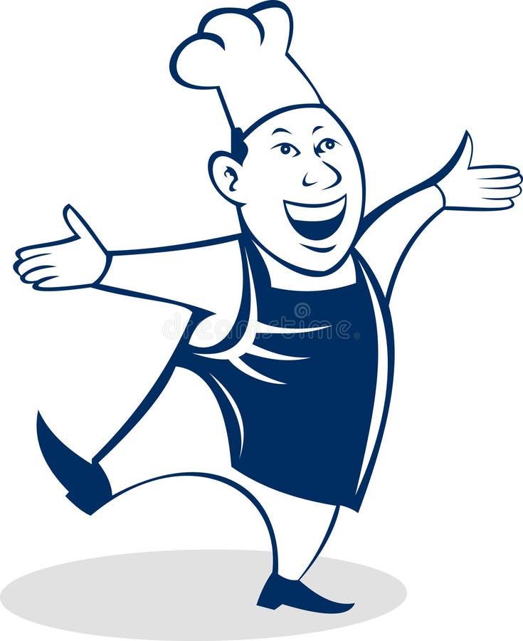 Panettiere asiatico felice del cuoco del cuoco unico illustrazione di stock