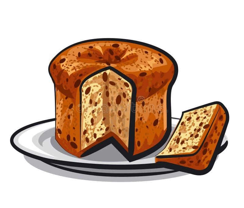 Panettone do bolo das passas ilustração do vetor