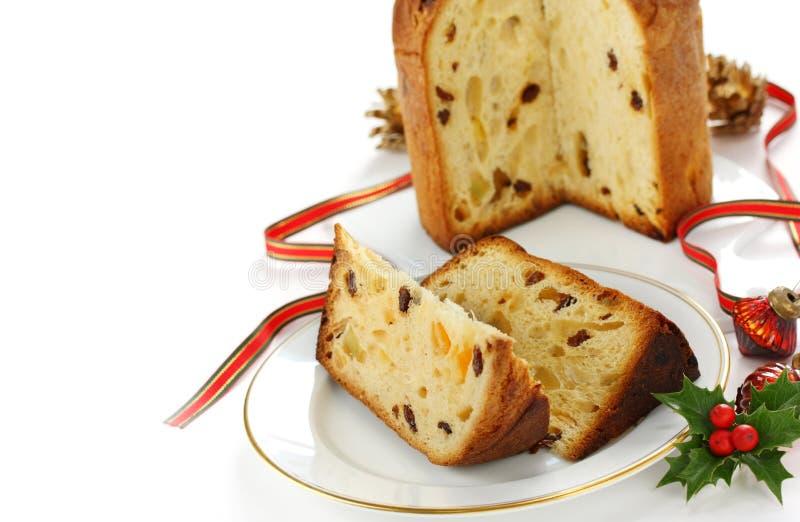 Panettone, italian christmas bread royalty free stock photography