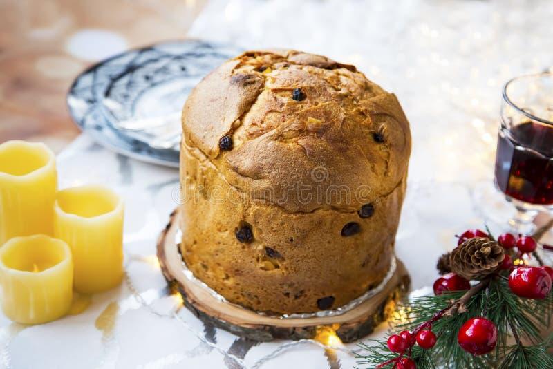 Panettone, italian festive Christmas sweet bread royalty free stock images